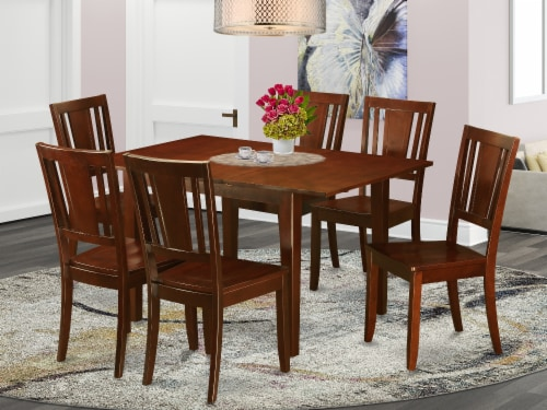 East West Furniture Picasso 7-piece Wood Dining Table Set in Mahogany Perspective: front