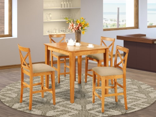 East West Furniture Pub 5-piece Traditional Wood Dining Set in Oak Perspective: front