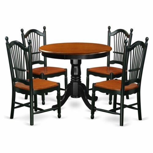 East West Furniture Antique 5-piece Dining Set with Wood Seat in Black/Cherry Perspective: front