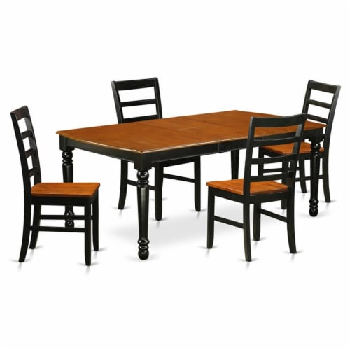 East West Furniture Dover 5-piece Wood Kitchen Table Set in Black/Cherry Perspective: front
