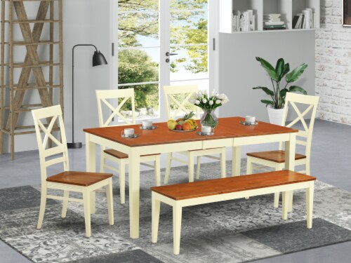 East West Furniture Nicoli 6-piece Wood Dinette Table Set in Buttermilk/Cherry Perspective: front