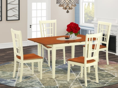 NONI5-WHI-W 5 PcTable and Chairs set for 4-Dinette Table and 4 Dining Chairs Perspective: front