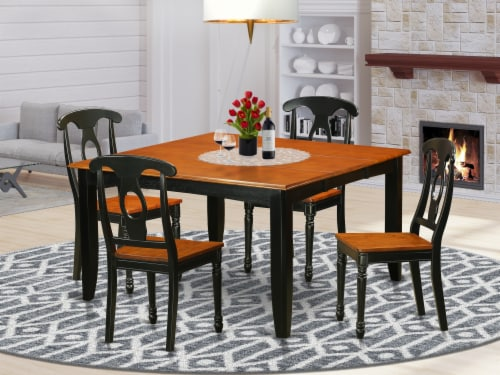 PFKE5-BCH-W 5 PC Dining room set-Dining Table and 4 Wooden Dining Chairs Perspective: front