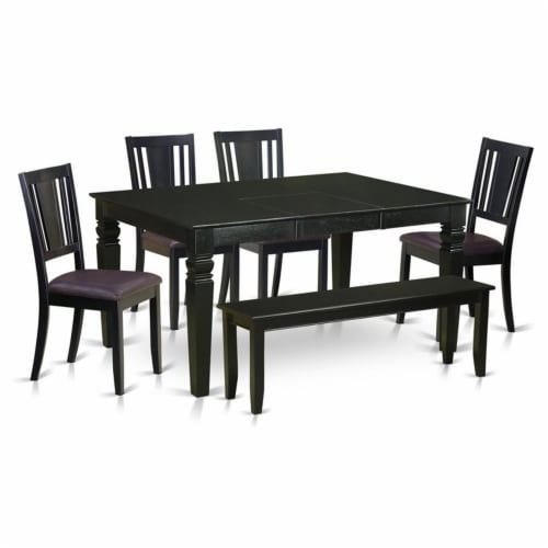 East West Furniture Weston 6-piece Wood Dinette Table Set in Black Perspective: front