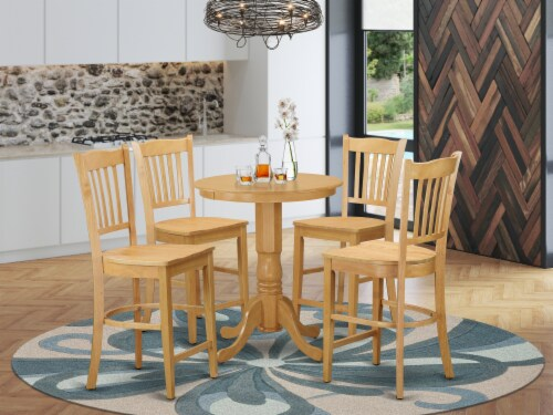 EDGR5-OAK-W 5 Pcpub Table set - Small Table and 4 counter height Dining chair. Perspective: front