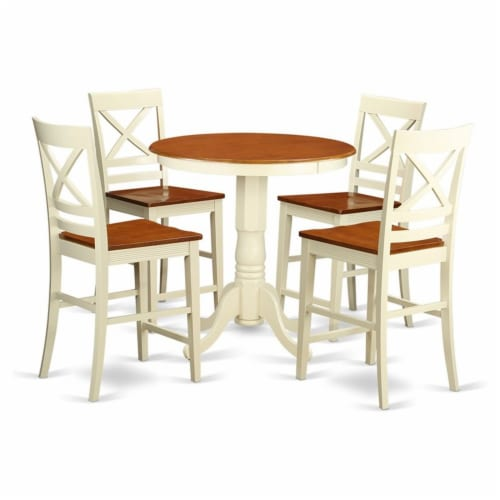 East West Furniture Eden 5-piece Wood Dining Room Set in Buttermilk/Cherry Perspective: front