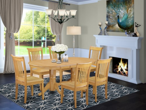 East West Furniture Vancouver 7-piece Wood Dining Set in Oak Perspective: front