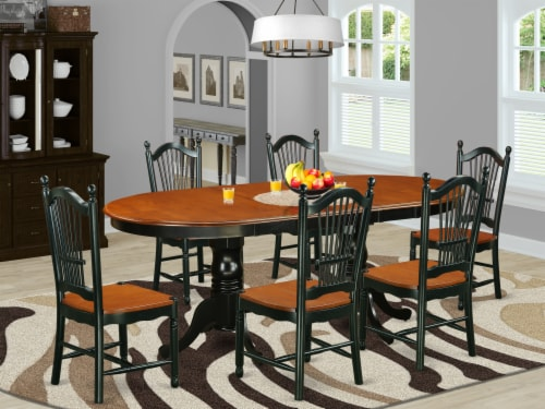 East West Furniture Plainville 7-piece Wood Dining Room Set in Black/Cherry Perspective: front