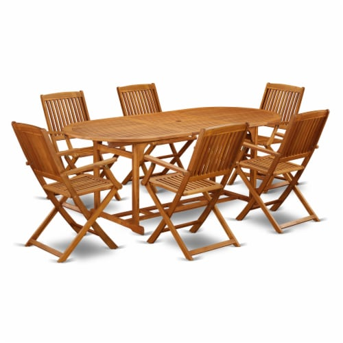 BSCM7CANA This 7 Pc Acacia Hardwood Balcony Dining Set Perspective: front