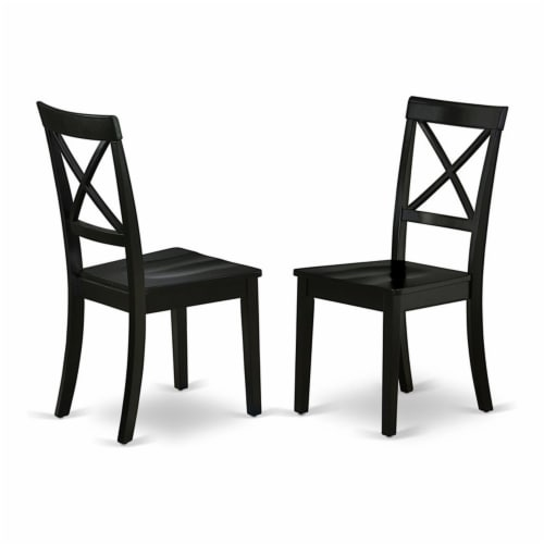 East West Furniture Boston 38  Wood Dining Chairs in Black (Set of 2) Perspective: front