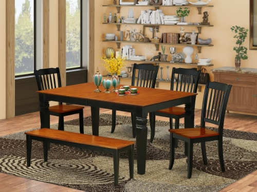 6PC 42/60 inch Table with 18 In Leaf & 4 vertical slatted Chairs plus 1 bench Perspective: front