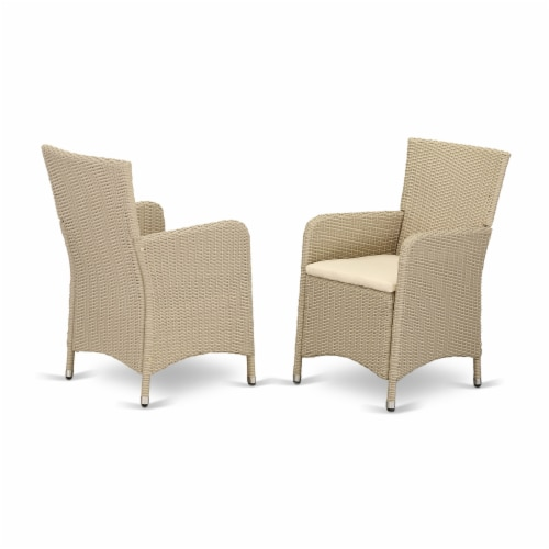 Set of 2 Chairs HLUC153V Outdoor-Furniture Wicker Patio Chair in Cream Finish Perspective: front