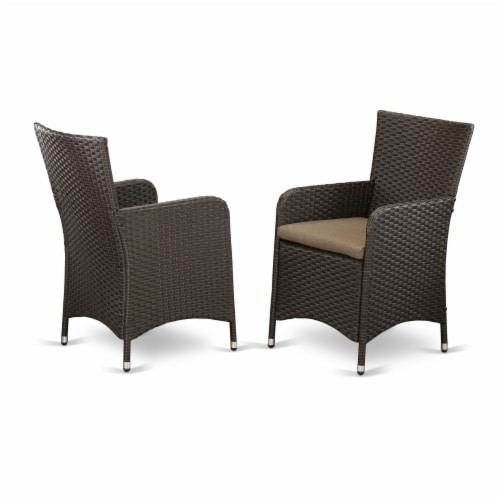 Set of 2 Chairs HLUC163S Outdoor-Furniture Wicker Patio Chair in Dark Brown Finish Perspective: front