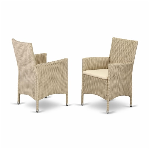 Set of 2 Chairs HVLC153V Outdoor-Furniture Wicker Patio Chair in Cream Finish Perspective: front