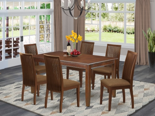 DUIP7-MAH-C 7 Pc Dinette Set Includes a table & Six Linen seat Chairs, Mahogany Perspective: front
