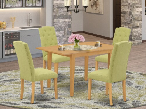 5Pc Dining Set -Table with & Four Chairs with Lime Green Fabric, Oak Perspective: front