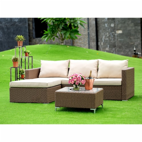 3Pc Brown Wicker Outdoor-Furniture Sectional Sofa Set Linen Cushion, Medium Perspective: front
