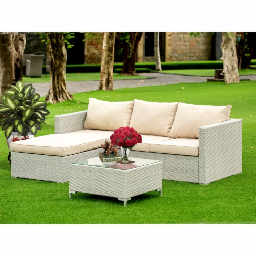 3Pc Natural Color Wicker Outdoor-Furniture Sectional Sofa Set Linen Cushion, Medium Perspective: front