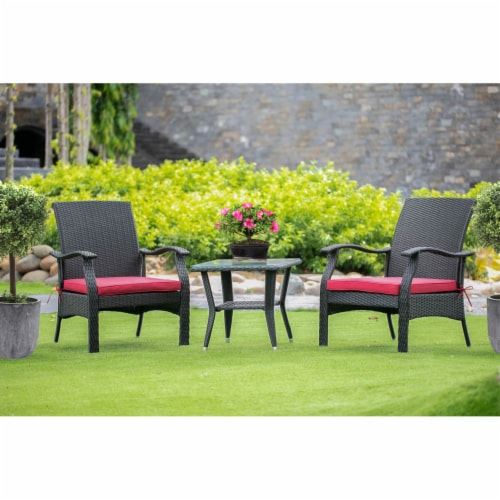 DTL3C01B 3Pc Outdoor-Furniture Black Wicker Dining Set Perspective: front