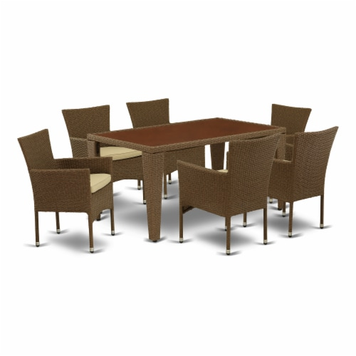 GUBK7-02A 7Pc Outdoor-Furniture Brown Wicker Dining Set Perspective: front