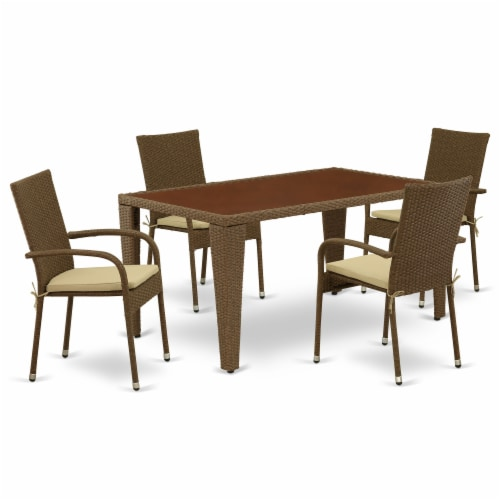 GUGU5-02A 5Pc Outdoor-Furniture Brown Wicker Dining Set Perspective: front