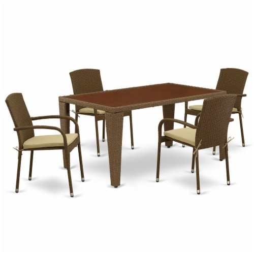 GUJU5-02A 5Pc Outdoor-Furniture Brown Wicker Dining Set Perspective: front