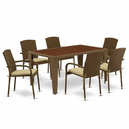 GUJU7-02A 7Pc Outdoor-Furniture Brown Wicker Dining Set Perspective: front