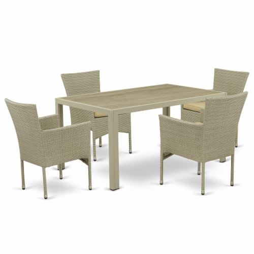 JUBK5-03A 5Pc Outdoor-Furniture Natural Color Wicker Dining Set Perspective: front