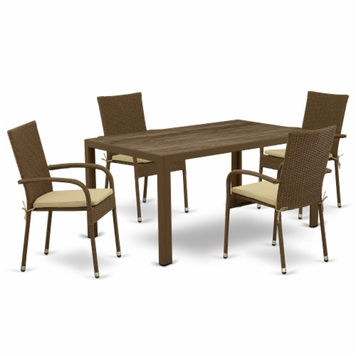 JUGU5-02A 5Pc Outdoor-Furniture Brown Wicker Dining Set Perspective: front