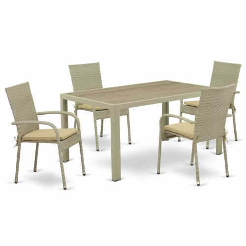 JUGU5-03A 5Pc Outdoor-Furniture Natural Color Wicker Dining Set Perspective: front