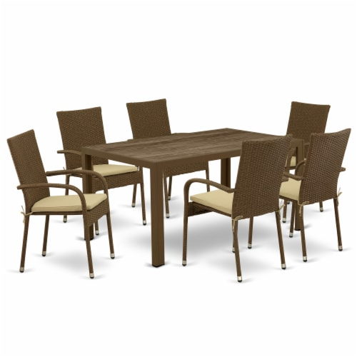 JUGU7-02A 7Pc Outdoor-Furniture Brown Wicker Dining Set Perspective: front