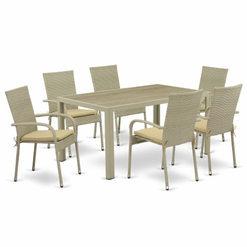 JUGU7-03A 7Pc Outdoor-Furniture Natural Color Wicker Dining Set Perspective: front