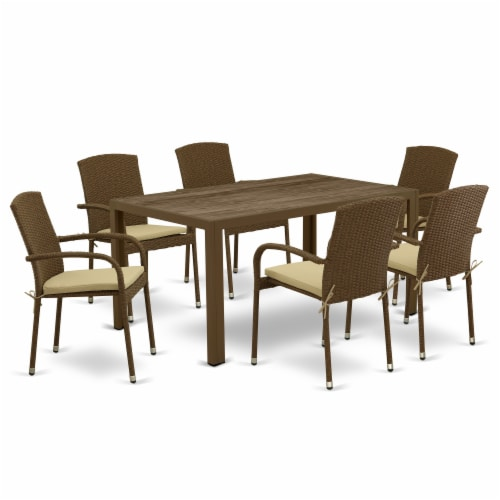 JUJU7-02A 7Pc Outdoor-Furniture Brown Wicker Dining Set Perspective: front