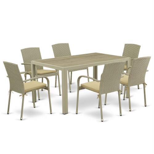 JUJU7-03A 7Pc Outdoor-Furniture Natural Color Wicker Dining Set Perspective: front