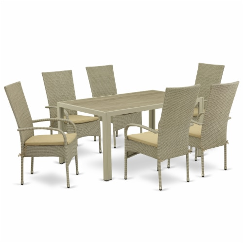 JUOS7-03A 7Pc Outdoor-Furniture Natural Color Wicker Dining Set Perspective: front