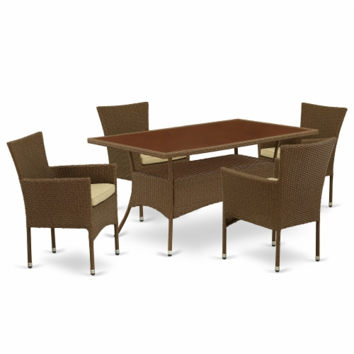 OSBK5-02A 5Pc Outdoor-Furniture Brown Wicker Dining Set Perspective: front
