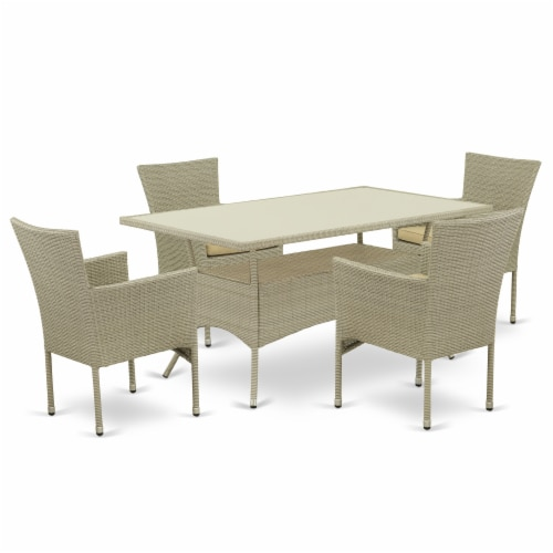 OSBK5-03A 5Pc Outdoor-Furniture Natural Color Wicker Dining Set Perspective: front