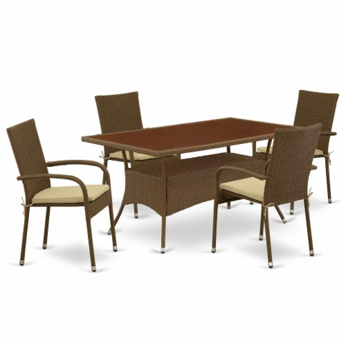OSGU5-02A 5Pc Outdoor-Furniture Brown Wicker Dining Set Perspective: front
