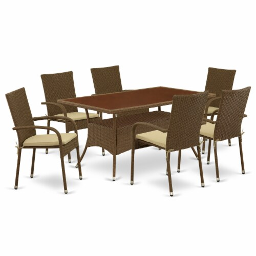 OSGU7-02A 7Pc Outdoor-Furniture Brown Wicker Dining Set Perspective: front