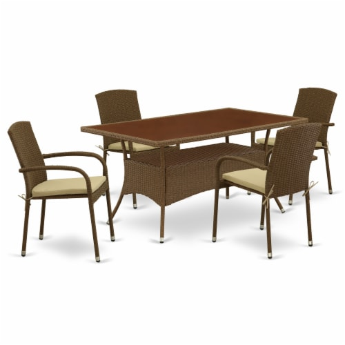 OSJU5-02A 5Pc Outdoor-Furniture Brown Wicker Dining Set Perspective: front