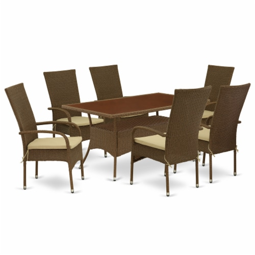 OSOS7-02A 7Pc Outdoor-Furniture Brown Wicker Dining Set Perspective: front