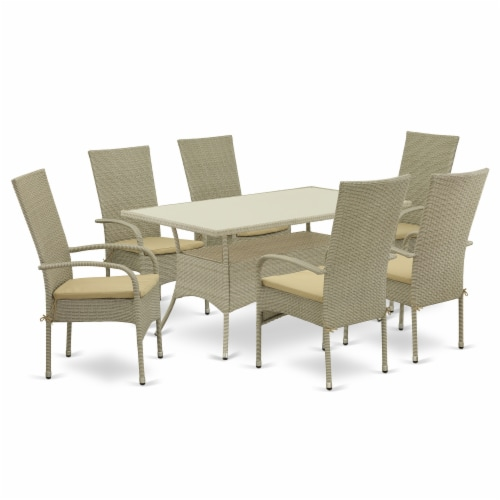 OSOS7-03A 7Pc Outdoor-Furniture Natural Color Wicker Dining Set Perspective: front