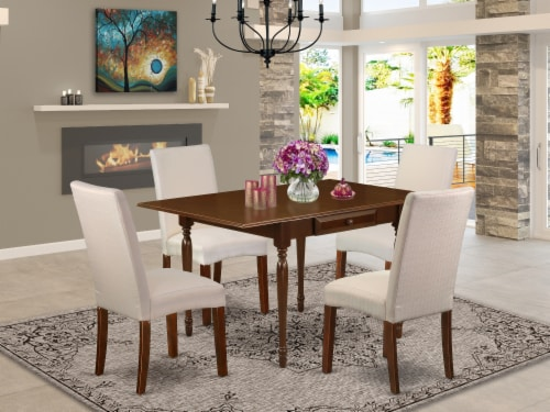 5Pc Dinette Set -Small table & 4 Chairs with Cream, Linen Fabric,Mahogany Perspective: front