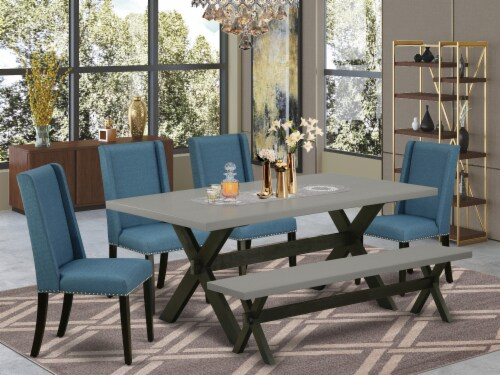 X697FL121-6-6-Piece Dinette Set-4 Chairs, an Bench & Table Solid Wood Structure Perspective: front