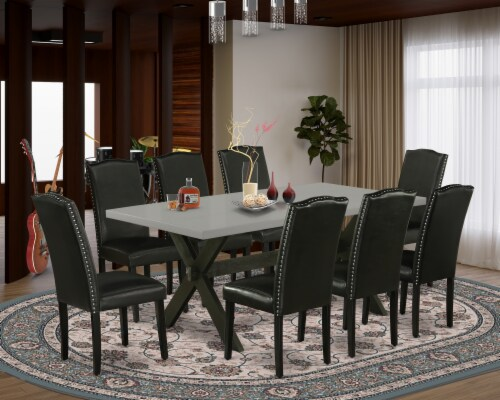 X697EN169-9 9-Pc Dinette Set-8 Chairs & 1 Table Top with High Chair Back-Black Perspective: front