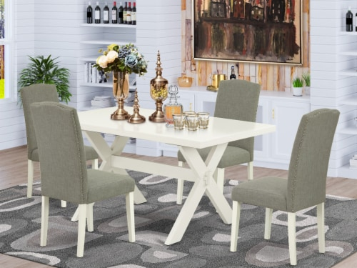 5-Pc Dinette Set Included 4 Chairs and Table - Linen White Perspective: front