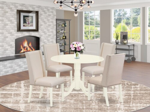 5Pc Dinette Set-a Table & 4 Fabric Chairs,Cream Chairs Seat,Linen White Perspective: front