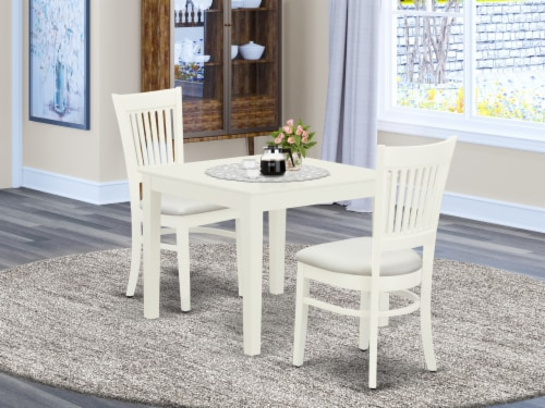 3-Pc Wood Dinette Set2 Chairs and Rectangular Table - Linen White Perspective: front