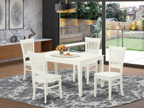 5Pc dinette set-4 wooden chairs with Slatted Back -A table-Linen White Perspective: front