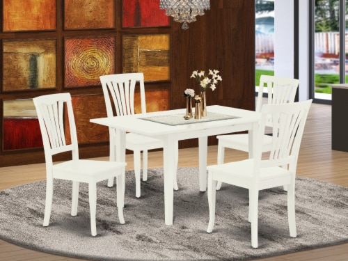 NOAV5-LWH-W 5-Piece Dinette Set 4 Chairs and Dining Table - Linen White Perspective: front